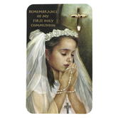 Roman, Inc, First Communion Cross Lapel Pin for Girls with Card, Gold, 3/4 x 1/4 inch