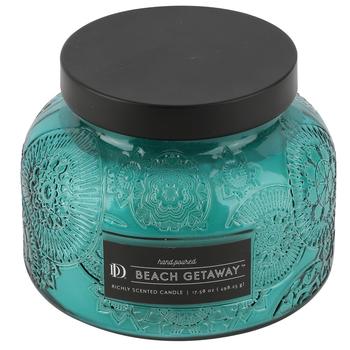 Winfield Home Decor, Beach Getaway Scented Candle Jar, Glass, Blue, 18 Ounces