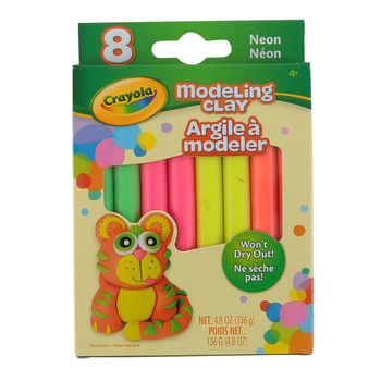 Crayola, Neon Modeling Clay, Assorted Colors, 8 Pieces, 4.8 Ounces, Ages 4 and up