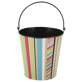 TooCute Collection, Metal Bucket, Large 8 x 8.75-inch, Kraft Paper, Black, and Bright Colors