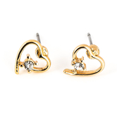Howard's, Ear Sense, Open Heart Post Earrings, Gold and Crystal Stone, 3/8 Inches