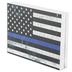 Police Flag Wood Decor, White, Blue, Black, 7 1/4 x 5 3/8 x 1 1/8 inches