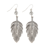 Set Free, Leaf with Blingy Accents Dangle Earrings, Zinc Alloy, Antique Silver