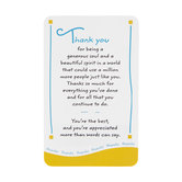 Blue Mountain Arts, Thank You For Being a Generous Soul Wallet Card, 2 x 3 1/4 inches