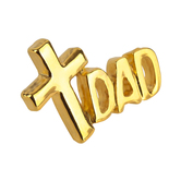 H.J. Sherman, Dad Cross Lapel Pin, Gold Plated, 3/4 x 1/2 inches