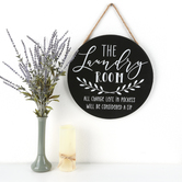 The Laundry Room Round Wall Plaque, MDF, Black and White, 15 1/2 inches