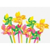 Fun Express, Mini Plastic Pinwheels 1.5 x 8 Inches, Assorted, Pack of 12