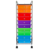 Renewing Minds, 10 Drawer Mobile Organizing Tower, Rolling Cart, Multi-Colored, 13 x 15 x 39 Inches