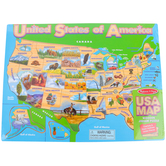 Melissa & Doug, USA Map Wooden Jigsaw Puzzle, 45 Pieces, 12 x 16 inches, Ages 5 to 8 Years Old