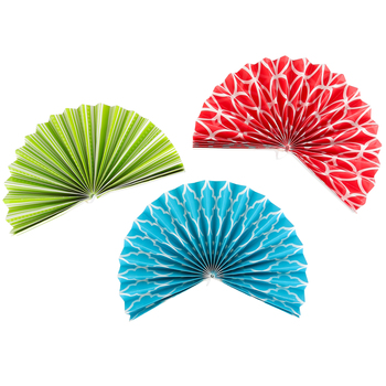 Isabella Collection, Double-Sided Accent Paper Fans, 6 x 6 Inches, 3 Designs, Set of 9