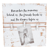 Remember the Memories Collage Frame with Clips, MDF Wood, White, 13 x 13 x 1 1/4 inches