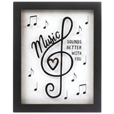 Open Road Brands, Music Sounds Better With You Wall Decor, MDF, Black and White, 10 x 8 x 3/4 inches