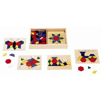 Melissa & Doug, Wooden Pattern Blocks and Boards, Ages 3 to 6 Years Old, 125 Pieces