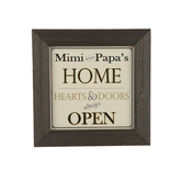 Grandparent Gift Co., Mimi and Papa's Home Sign, Natural Wood, 10 x 10 inches