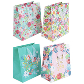 Brother Sister Design Studio, Floral Gift Bag Set, 10 x 8 x 4 1/2 inches, 1 Each of 4 Designs