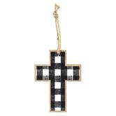 Buffalo Check Mini Wall Cross, MDF, Black & White, 5 1/2 x 4 inches