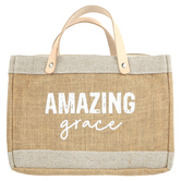 Faithworks, Amazing Grace Purse-Style Bible Cover, Leather & Jute, Tan, Large