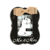 Mr. & Mrs. Ornate Photo Frame, 5 x 7 inches, Black and Cream