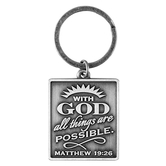 Dicksons, Matthew 19:26, With God All Things Are Possible, Key Chain Antique Silver Finish