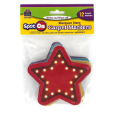 Teacher Created Resources, Spot On Marquee Stars Carpet Markers, Assorted Colors, 12 Pieces, 4 Inches