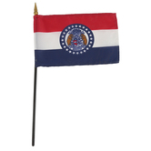 Annin & Company, Missouri State Flag with Rod, 4 x 6 Inches, Multi-Colored, 2 Pieces