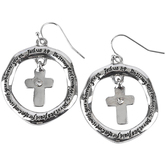 Bella Grace, Joshua 1:9, Hoop Ring with Jeweled Cross Center Dangle Earrings, Zinc Alloy, Silver