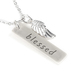 Set Free, Blessed Tag and Angel Wing Necklace, Zinc Alloy, Brushed Silver, 16 Inch Chain