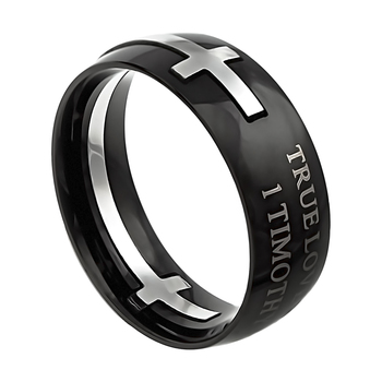 Spirit & Truth, 1 Timothy 4:12, True Love Waits, Men's Purity Ring, Black, Stainless Steel