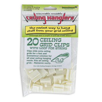 StikkiWorks, Grid Ceiling Hanglers, White, 20 Hanger Clips per Package