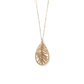 His Truly, Oblong Leaf Pendant Necklace, Zinc Alloy, Gold, 32 Inch Chain