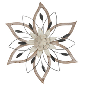 Floral Metal Wall Decor, MDF,  Beige & Brown, 24 1/8 x 21 3/4 x 2 1/4 Inches