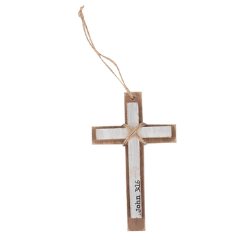 John 3:16, Layered Wall Cross, MDF, White and Brown, 8 3/4 x 3 inches