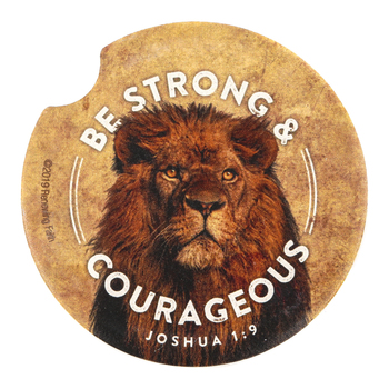 Renewing Faith, Joshua 1:9 Be Strong and Courageous Car Coaster, Absorbent Sandstone, Tan, 2 1/2 inches