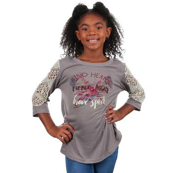 Southern Grace, Kind Heart Fierce Mind Brave Spirit, Kid's 3/4 Lace Sleeve T-shirt, Grey, Ages 2  -12