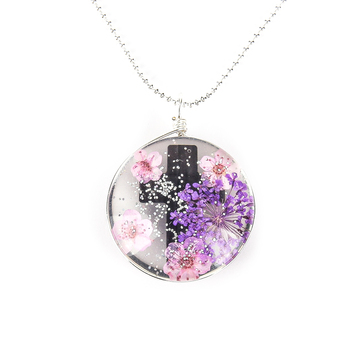 Faith in Bloom, Flowers with Cross Round Pendant Necklace, Iron, Silver, 20 Inch Chain