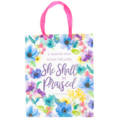 Medium Proverbs 31 Floral Gift Bag, Paper, White