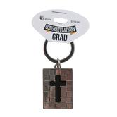 Dicksons, Congratulations Grad Cross Keyring, Metal, Silver, 1 x 1 3/8 inches