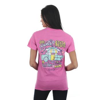 Cherished Girl, Psalm 147:4 Star Camper, Women's Short Sleeved T-Shirt, Azalea, S-3XL