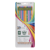 Dixon, Ticonderoga Soft Neon Striped Pencils, Medium Point, Pack of 10