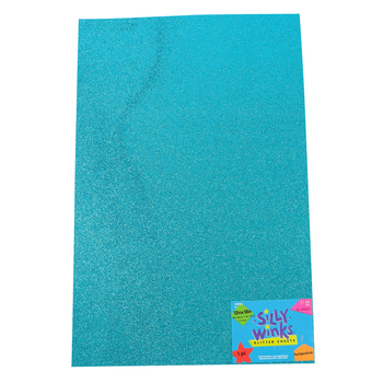 Silly Winks, Glitter Foam Sheet, Turquoise, 12 x 18 Inches, 1 Each