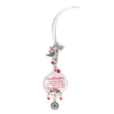 Abbey and CA Gift, Granddaughter Car Charm, Metal, Red and Silver, 4 inches