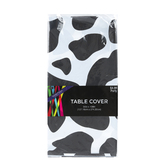 Western Party Plastic Table Cover, Black and White Cow Print, Rectangle, 54 x 108 Inches, 1 Each