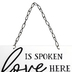 Love Joy Grace Wall Sign, Metal, White and Black, 13 x 10 inches
