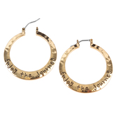 Bella Grace, Enjoy the Journey Dangle Hoop Earrings, Zinc Alloy, Gold-tone