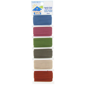 Colorful Thick Elastic Cord, Blue, Mauve, Green, Brown, Tan and Red, 1.2mm, 4 yards of each color