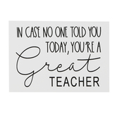 You're A Great Teacher Wall Decor, Wood, White, 5 1/2 x 4 x 1 1/8 inches