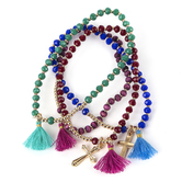 Radiant Sol, Cross and Tassel Beaded Bracelet Set, Glass and Woven Cotton, Assorted Colors, 4 Pieces