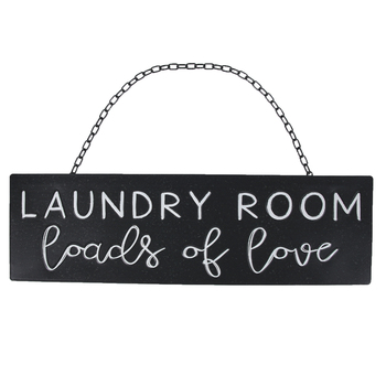 Laundry Room Loads of Love Metal Wall Decor, Black, 20 x 6 x 1/4 inches