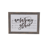 Amazing Grace Framed Wall Plaque, MDF Wood, White, 20 x 14 inches