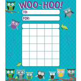 Renewing Minds, Owls Incentive Charts, 4.75 x 6 Inches, Turquoise Quatrefoil, 36 Sheets